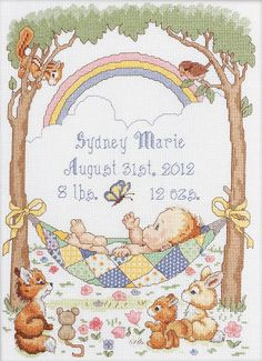 "Bucilla Our Little Blessing Birth Record Counted Cross Stitch Kit-10""X13-1/2"" 14 Count"