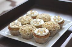 My zucchini almond cupcakes are made with Greek yogurt in the batter and frosting. Quite possibly my all-time favorite cupcake. And cute too!