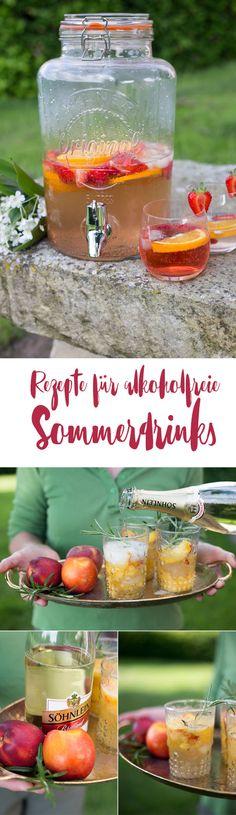 Rezepte für alkoholfreie Sommerdrinks - Alkoholfreie Cocktails selbermachen - mit Nektarinen und Erdbeeren