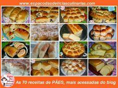 Algumas das receitas de Pães mais acessadas do blog - Espaço das delícias culinárias