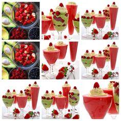 Sobremesa de Sorvete, Frutas de Morangos e Abacate e Framboesas  Creme de Chantilly// Para camadas e enfeite:      1 xícara de framboesas ou ( mirtilos/amoras)-  Para o  sorvete de morango:      2 cx. de  morangos (908 g)-     2 bananas-     2 ou 3 colheres de sopa de açúcar granulado ou mel (36 g) (mais se você quiser mais doce)-     ¼ xícara de leite desnatado (60 g)-