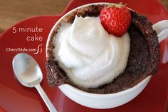 Quick and easy 5 minute chocolate mug cake recipe for Valentine's Day