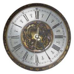 Old steampunk clock design accessoires, vintage dinner plate