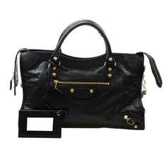 Balenciaga Giant 12 Gold City Shoulder Bag, Black