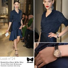 Seen at #JLCandAlexisMabille fashion show: the Grande #RendezVous Night & Day Wild #watch. Technical details: 18-carat White Gold, 186 diamonds, Automatic movement, Satin strap.