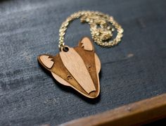 Wooden badger face necklace