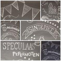 #chalkboard #sinterklaas #banner Pomp5 Chalkboard Drawings, Chalkboard Lettering, Diy Chalkboard, Cardboard Box Crafts, Cardboard Castle, Chalk It Up, Chalk Art, Saint Nicholas, Posca