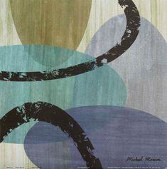 Gravura para Quadros Abstrato Elastic Blue III - 30x30cm