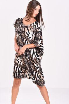 3d2eb8174014 Φόρεμα σε άνετη γραμμή εμπριμέ (μπεζ-μαύρο)