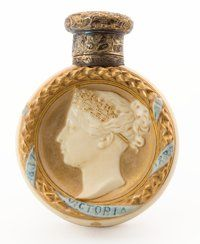 FROM THE ESTATE OF SHIRLEY JACOBS ALTER ROYAL WORCESTER Queen Victoria commemorative travel perfume vial in
