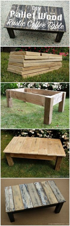 Plans of Woodworking Diy Projects - DIY Pallet Wood Rustic Coffee Table / Go for a rustic style for your next piece of furniture. You can reuse pallet wood to get great results. Get A Lifetime Of Project Ideas & Inspiration!