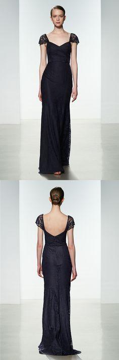 Exquisite Queen Anne Neck Sheath Lace Bridesmaid Dress