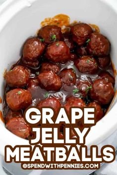 Crockpot grape jelly meatballs are a quick and easy appetizer made with just 3 simple ingredients. Whether making homemade meatballs from scratch or using frozen meatballs this appetizer is always a crowd favorite. Jelly Meatballs Crockpot, Appetizer Crockpot, Appetizer Recipes, Homemade Meatballs Crockpot, Crockpot Recipes, Cooking Recipes, Vegetarian Cooking, Sweet And Sour Meatballs, Meatballs With Grape Jelly