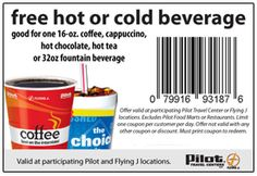 FREE Hot OR Cold Beverage at Pilot and Flying J Travel Centers on http://hunt4freebies.com