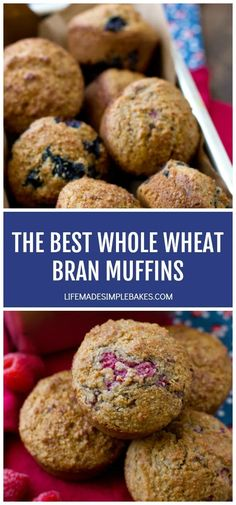 Bran has never tasted better! These are the best whole wheat bran muffins out there! Not only are they low in fat but they're low in sugar too. A hearty and nutritious way to start your day! Blueberry Bran Muffins, Blue Berry Muffins, Banana Whole Wheat Muffins, All Bran, Homemade Buttermilk, Muffin Recipes, Bread Recipes, Jelly Recipes, Baking Recipes