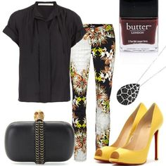 black and flower pant by Just Cavalli - yellow peeptoes by Christian Louboutin