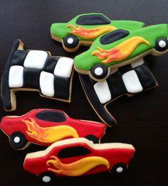 Race Car & Checkered Flag Sugar Cookies 1 Dozen by LaPetiteCookie, $34.00