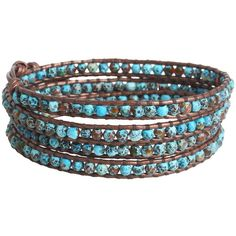 Chan Luu Aqua Fire Agate Stone Wrap Bracelet On Natural Brown Leather ($170) found on Polyvore
