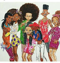 Dope....Static from ( Static Shock) Suzy from (Rugrats) Huey from The Bondocks Penny from (The Proud Family) Number 5 from (Kids Next Door) Gerald from (Hey Arnold) Wanda from (The Magic School Bus) We All Grown Up Now.