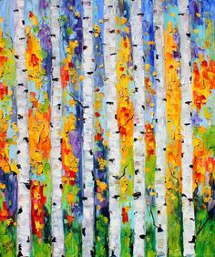 Original oil painting Birch Trees Autumn landscape palette knife on canvas fine art impressionism by Karen Tarlton