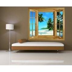 WINDOW MURAL PHOTO WALLPAPER SELF AHDESIVE WALL ART TROPICAL BEACH SCENE PALM TREE PICTURE: Amazon.co.uk: Kitchen & Home