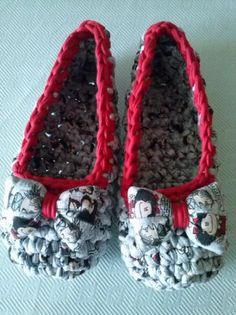 zapatillas de andar por casa trapillo  trapillo reciclado ganchillo