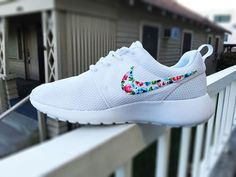Womens Custom Nike Roshe Run sneakers, Floral design, All white with floral pattern, womens white custom roshe