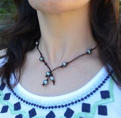 Pearls on Leather Lariat Two Way Leather and by JewelryByYevga https://www.etsy.com/listing/251397662/pearls-on-leather-lariat-two-way-leather?utm_source=Pinterest&utm_medium=PageTools&utm_campaign=Share