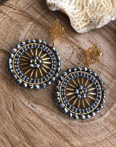 Copper Earrings, Beaded Earrings, Earrings Handmade, Bugle Beads, Seed Beads, Beaded Jewelry Designs, Brick Stitch, Beaded Flowers, Bohemian Jewelry