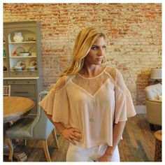 """Blush chiffon lace top Modeling size small. 100% polyester. Bust laying flat: S 18"""" M 19"""" L 20"""" XL 21"""". Length S 21"""" M 22"""" L 23"""" XL 23.5"""". Add to bundle to save when purchasing two or more items from my closet. OS6751221 Tops Blouses"""