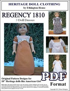 1810 Regency PDF Pattern for 3 Dresses  with by MotherofNine, $6.00