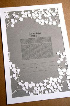 Papercut Ketubah Branches Modern Ketubah Print by OnceUponaPaper, $385.00