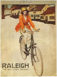 The cover of an advertising catalogue of 1922. The image of an independent woman, dressed in the latest fashion, cycling through the countryside highlights the post-war status of women and their importance to the cycle market.