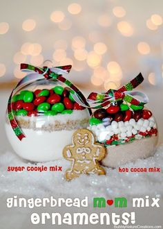 Gingerbread m&m mix ornaments (sugar cookie and hot cocoa)   These make the cutest gifts and double as a sweet treat!  #shop