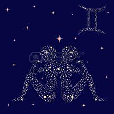 Signo zodiacal G minis en un fondo del cielo estrellado ilustraci n vectorial Foto de archivo