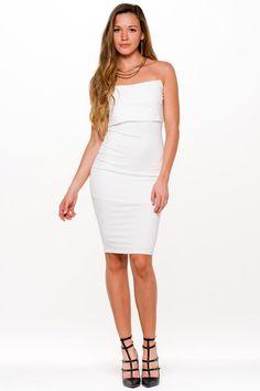 (aln) Strapless panel white midi dress