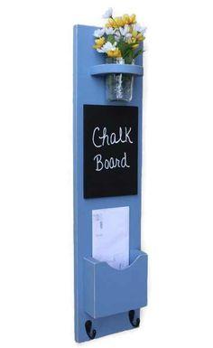 Mail Organizer - Mail Holder - Letter Holder - Mail and Key Holder - Mail Sorter -Key Hooks - Chalkboard by LegacyStudio on Etsy