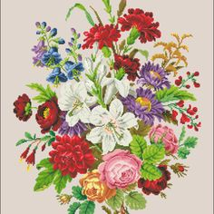 Patterns 2 - Victorian Cross Stitch and Berlin Wool Work Patterns Embroidery Patterns Free, Cross Stitch Patterns, Embroidery Designs, Cross Stitching, Cross Stitch Embroidery, Hand Embroidery, Victorian Cross Stitch, Craft Patterns, Floral Patterns