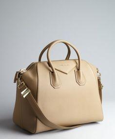 Givenchy : beige leather 'Antigona' crossbody large satchel : style # 325665001
