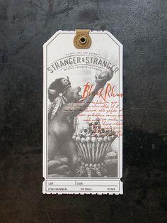 Stranger & Stranger Spirit Tag - Black Rhum by Cranky Pressman Web Design, Label Design, Packaging Design, Print Design, Logo Design, Hangtag Design, Type Design, Layout Design, Stranger And Stranger