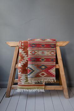 Aida Kilim Rug Handmade Modern Wool Geo Rug available from Hare & Wilde. Southwestern Decorating, Southwest Decor, Living Room Carpet, Rugs In Living Room, Muster Tattoos, Persian Carpet, Modern Rugs, Rug Making, Floor Rugs