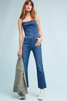 841cb01c3dfc Slide View  1  Mother Tie-Back Frayed Jumpsuit Denim Jumpsuit