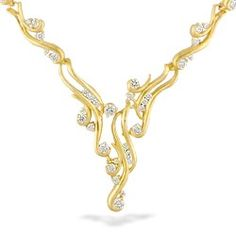 Yellow Gold Waterfall Link Necklace with Diamonds - Waterfall Collection #hawaiian #island #lifestyle More at www.nahoku.com