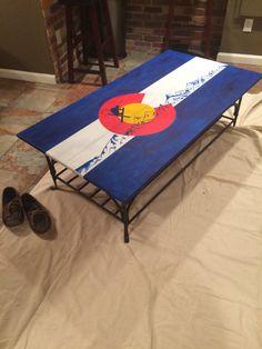 Refurbished Colorado flag coffee table