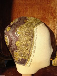 18th Century Antique Georgian French Womans Silk Brocade Coiffe with Gilt Lace | eBay