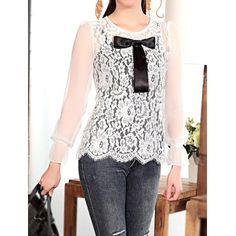 Vintage Lace Splicing Bow Embellished Scoop Neck Long Sleeves Blouse And Solid Color Tank Top Women's Twinset