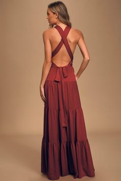 Dressed up or down the Lulus Flirty Fling Wine Red Satin Convertible Halter Maxi Dress is a great choice! Tiered dress with tying halter straps and pockets. Sexy Maxi Dress, Halter Maxi Dresses, Sexy Dresses, Bridesmaid Dresses, Long Dresses, Bridesmaids, Wine Red Dress, Red Cocktail Dress, Looks Hippie