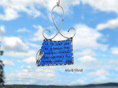 Message verre bleu cadeau personnalisé décoration par ArtsVitrail