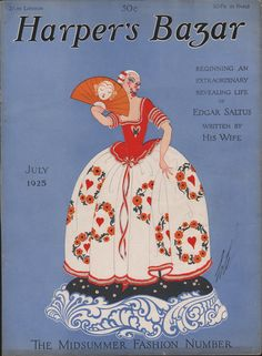 Harper's Bazaar cover by Erté, 1925 Fashion Magazine Cover, Fashion Cover, Magazine Art, Magazine Covers, Erte Art, Art Nouveau, Art Deco Illustration, Magazine Illustration, Vintage Illustrations