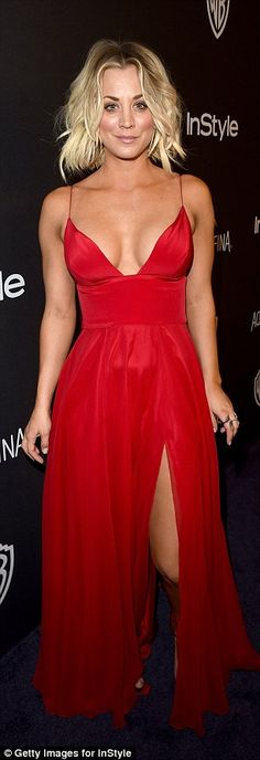 Ravishing in red: Kaley Cuoco definitely turned heads in a low-cut plunging crimson dress ...